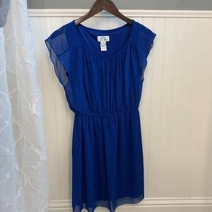Sweet Storm Royal Blue Sheer Cinched Waist Dress